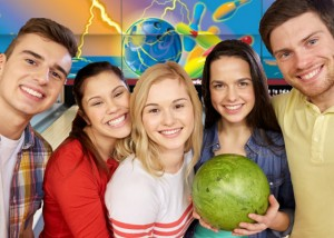 Group of Happy Bowlers